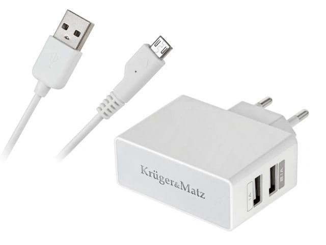 Zasilacz, ładowarka, dwa gniazda USB, 5V 1A+2,1A do zabudowy